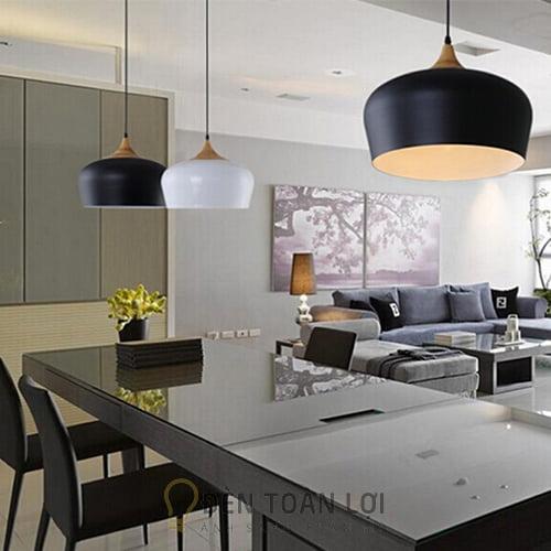 Đèn Thả: Mẫu chao đèn sắt và nắp giả gỗ thả trần trang trí bàn ăn