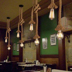 Đèn Thả: Mẫu đèn thả đây thừng đôi trang trí quán cafe