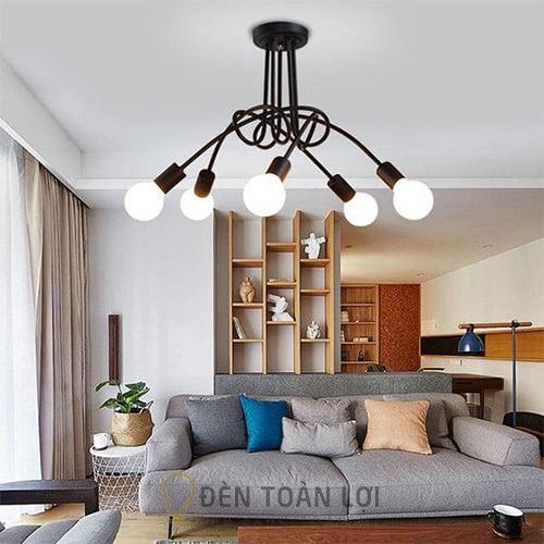 Đèn Ốp Trần: Mẫu đèn ốp trần sắt sơn tĩnh điện 5 bóng giá rẻ