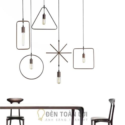 Đèn Thả: Mẫu đèn thả hình học trang trí quán trà sữa vuông, tròn, tam giác, chữ nhật, sao