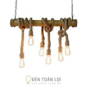 Đèn Thả: Bộ đèn thả khúc tre quấn dây thừng 6 bóng