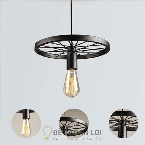 Đèn Thả: Mẫu đèn thả hình bánh xe bằng sắt sơn tĩnh điện trang tí quán cafe