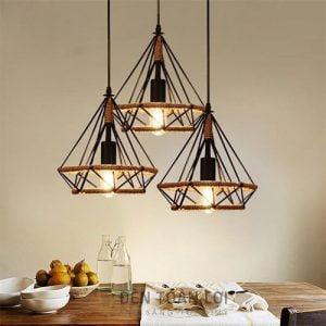 Đèn Thả: Mẫu đèn thả trang trí quán cafe hình kim cương quấn dây thừng