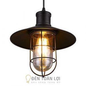 Đèn Thả: Mẫu đèn thả trần lồng sắt choá thuỷ tinh trang trí quán cafe