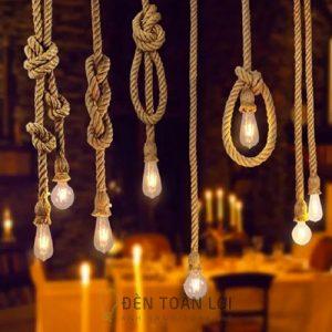 Mẫu đèn thả đây thừng đơn trang trí quán cafe