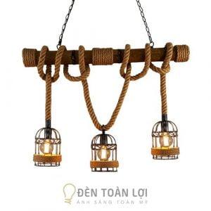 Mẫu đèn thả khúc tre 3 lồng chim trang trí quầy bar, quán cafe, shop thời trang