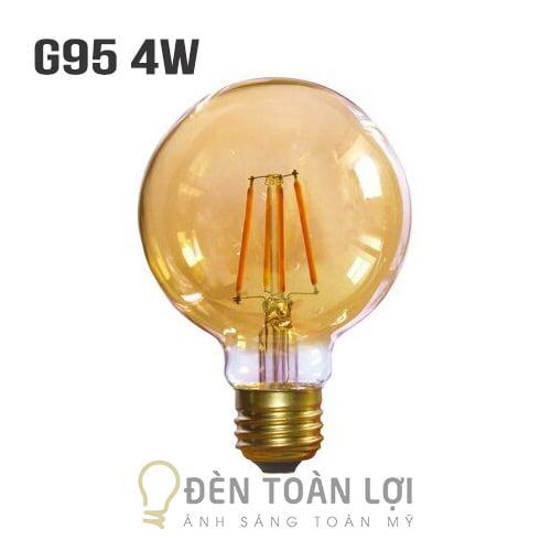 Bóng Đèn: Mẫu bóng G95 vỏ vàng 4W trang trí quán cafe
