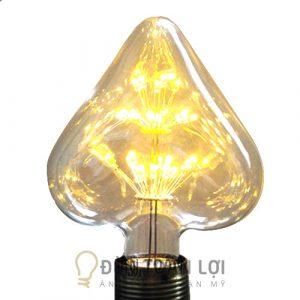 Bóng Đèn: Mẫu đèn LED Edison hình trái tim trang trí quán trà sữa