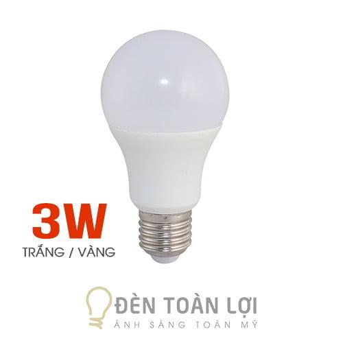 Bóng Đèn: Bóng bulb 3W kín nước ánh sáng trắng, vàng