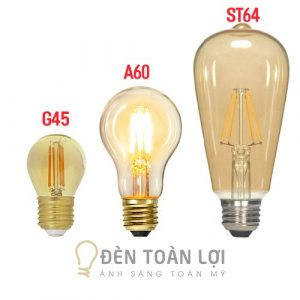 Bóng Đèn: Bóng LED Edison ST64, A60, G45 vỏ vàng Amber